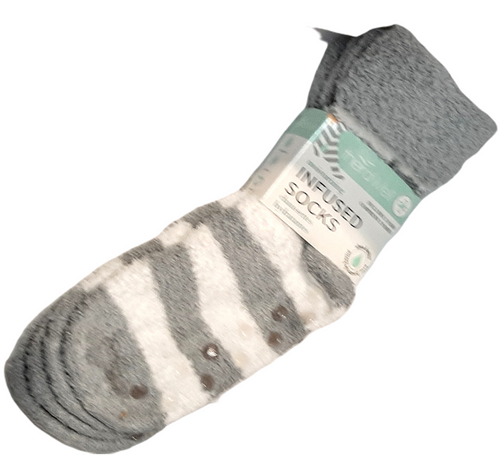 2 Pack Shea butter Infused Socks. Soften and help soothe feet with nourishing essential oils while indulging in super-soft comfort! Non skid soles. Choose from GREY (1 solid, 1 stripe) or PINK (1 solid, 1 stripe)