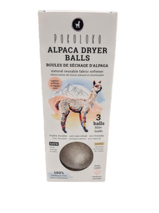 Alpaca balls eliminate the need for toxic, disposable dryer sheets.  These natural alpaca balls are  more effective at softening laundry, reducing static and removing wrinkles with added benefits of reduced dryer time, energy use and household cost. Simply add 3 balls to a regular load and without harming your dryer the balls will absorb moisture and increase air circulation.  Lifetime of over 500 loads = great value!  Will not rub off on clothing, wool-sensitivity safe!