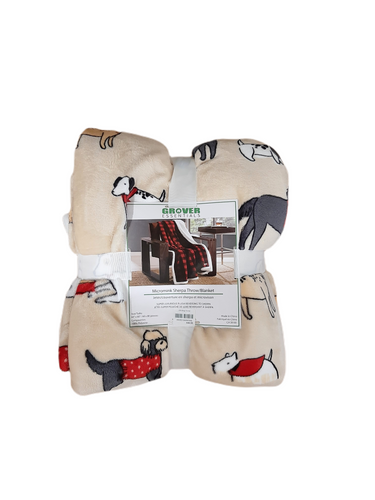 This super luxurious throw, reverses to sherpa and features assorted canine friends!  60