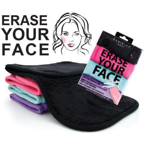 The Erase Your Face cleansing cloth: a make-up remover like no other! This cloth has the ability to remove all types of cosmetics, including waterproof mascara without the use of harmful chemicals or synthetic make-up removers. Just add water! Three pack includes one each pink, blue and purple.