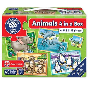 Childrens jigsaw puzzles consisting of 4, 6, 8 & 12 pieces all with animal theme for ages 3 and up.  Colourfully boxed with a carrying strap