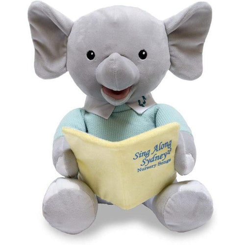 Dressed in a classy mint sweater, Sing Along Sydney is an elephant that sings and sways to 5 nursery rhyme songs and encourages everyone to sing along.