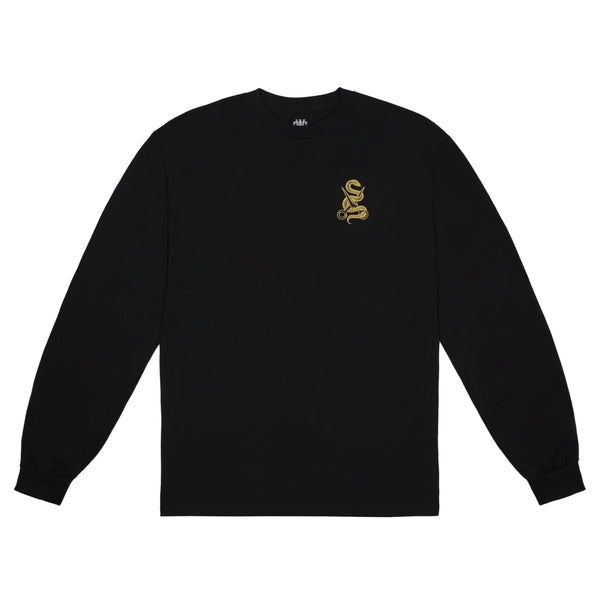 Snake & Scissors L/S Tee - Black/Gold