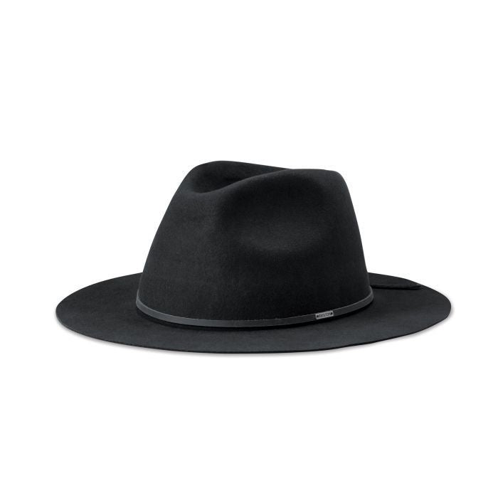 WESLEY PACKABLE FEDORA - WASHED BLACK - 95% WOOL FELT 5% LEATHER