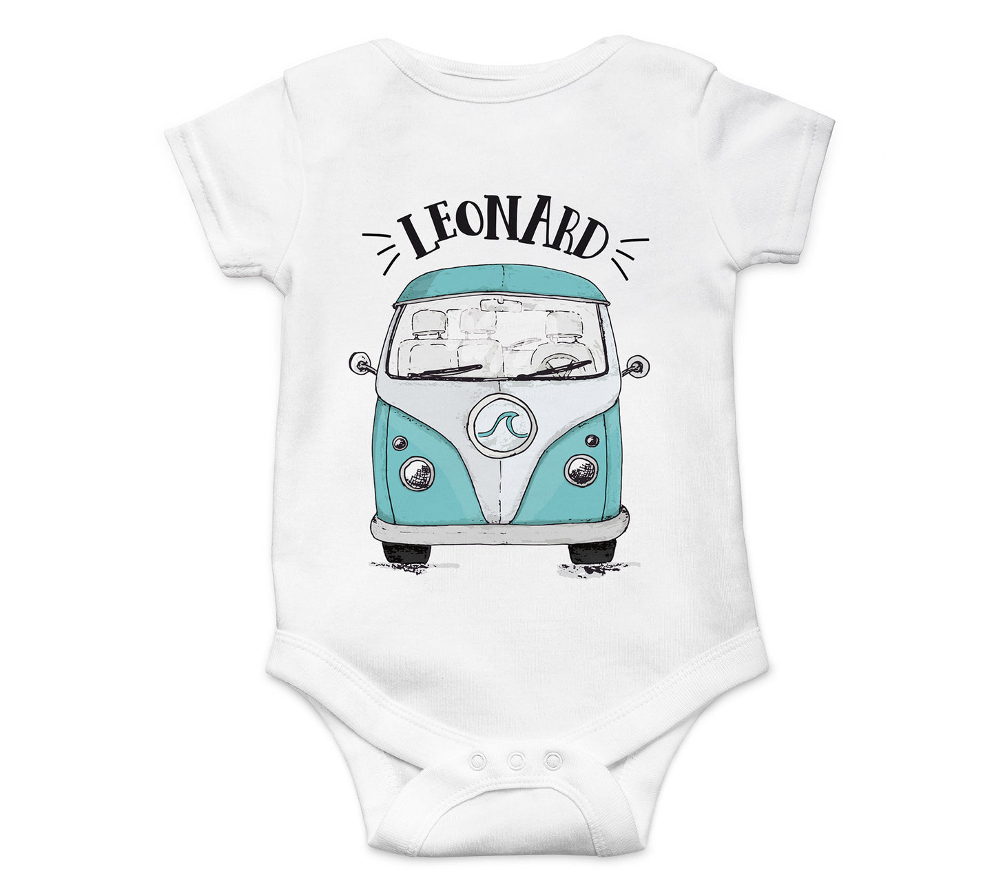 Baby Body Strampler Bus Bulli Camper mit Wunschname BS004