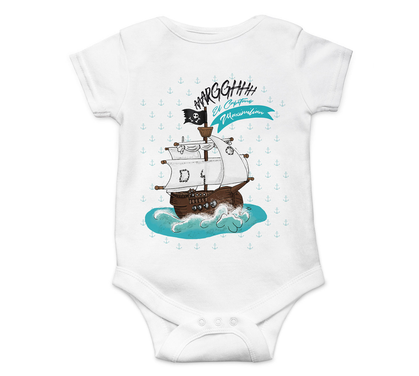 Baby Strampler Piratenschiff mit Name BS011