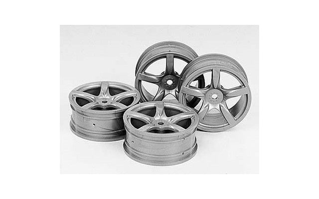 Tamiya - Silver Arched 5-Spoke Wheels 24mm/0 (4)