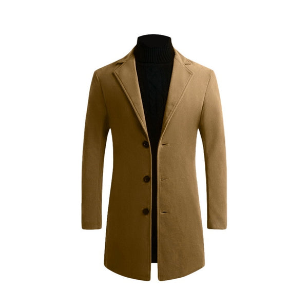 Men's Woolen Coat Men's Jacket Large Size Men's Clothing Men's Casual Warm Trench Coat Woolen Coat Autumn Winter