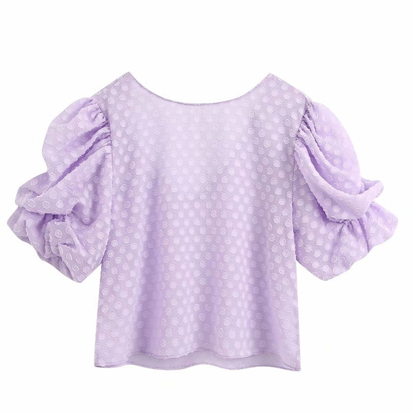 2020 women sweet pleated lantern sleeve dots texture purple casual smock blouse ladies chic back V shirts femininas tops LS6534