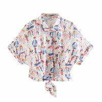 New 2020 women fashion graffiti print hem bow tied casual smock blouse female short sleeve chic buttons shirts brand tops LS6537