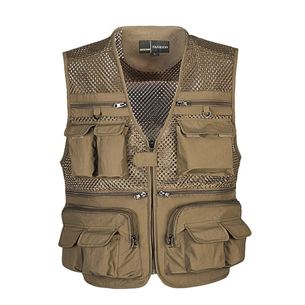 Unloading Men's Vest Tactical Coat Fashion Summer Photographer Waistcoat Mesh Work Sleeveless Jacket Tool Many Pocket Vest Male