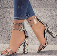 Fashion Ankle Strap Women Casual Sandals Open Toe Summer High Heel Shoes Buckle Ladies Office Work Sandalias Shoes