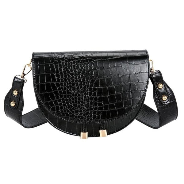Luxury Crocodile Pattern Crossbody Bags for Women Half Round Messenger Bag PU Leather Handbags Shoulder Bag sac main femme