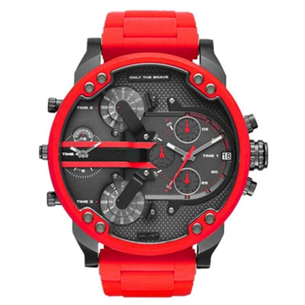 Sport Red Watch 7370 Men Big Dial Watches Casual Alloy Quartz Watch Trade Explosion Drop Shipping Clock Business Hour Male DZ