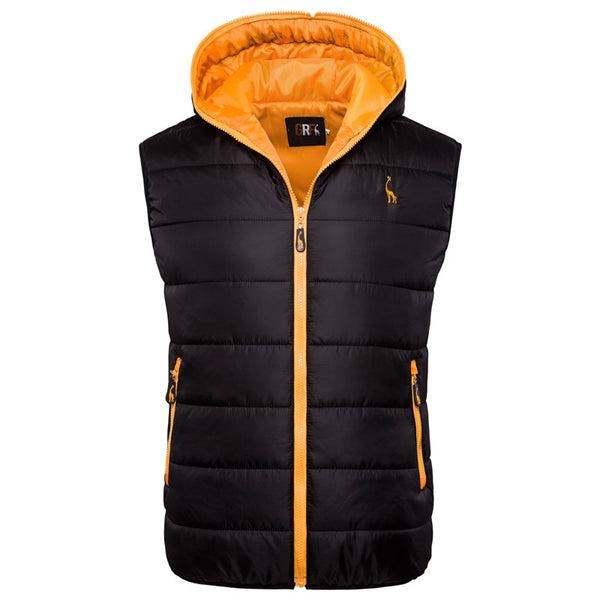 2019 New Giraffe Brand Winter Jacket Men Hoodied Vest Men Zipper Mens Jacket Sleeveless Casual Winter Waistcoat Men