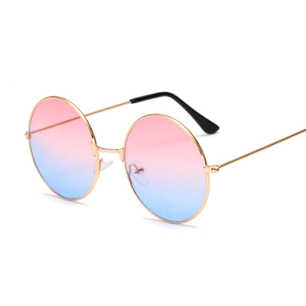 2020 Retro Round Pink Sunglasses Women Brand Designer Sun Glasses For Male Alloy Mirror Female Oculos De Sol Black