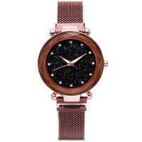 Luxury Brand Starry Sky Watches for Women Stylish Ladies Gold Bracelet Watches Stainless Mesh Magnetic Buckle Quartz Wristwatch