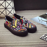 2020 Bohemian Shoes Women Canvas Shoes Thick Sole Height Increasing Shoes 3cm Casual Women Flats Female Loafers Shoes N036