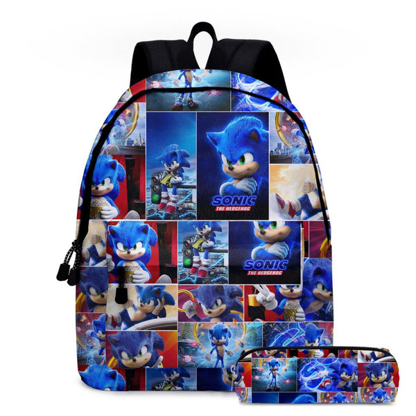 Cartoon Cool Sonic School Bags Set/2Pcs  The Hedgehog 3D Print Cartoon Schoolbags Children Polyester Backpack Boys Mochila