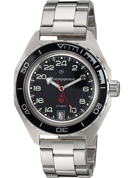 Watch Vostok Komandirskie 650541 mechanical Mens Automatic watch black dial 24 hours