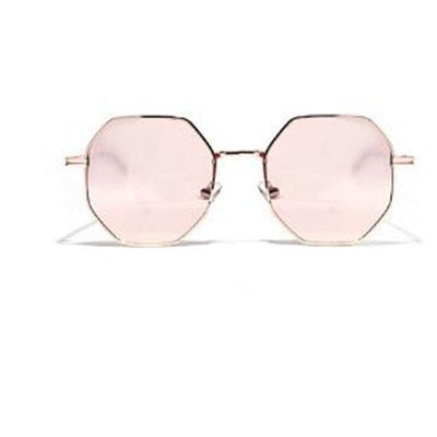 2020 Retro polygon sunglasses Men Women Luxury pink Lens Round Sunglasses Vintage Small frame Mirror color sunglasses