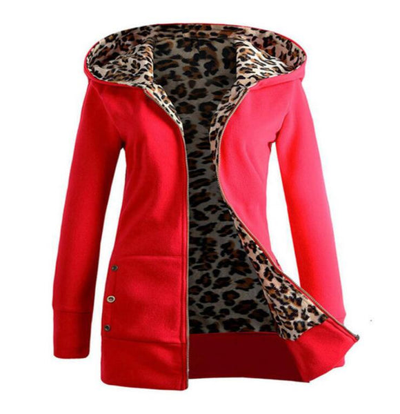 Hot 2020 Women Leopard Outwear coat Warm Wool Loose Hooded Zipper Winter Long Sleeve Jacket Thickened Overcoat