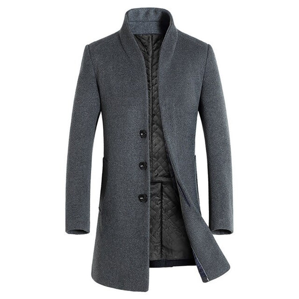 Nice Winter Men Casual Wool Trench Coat Business Thick Slim Overcoat Jacket Male Warm Men Jackets Overcoat Erkek Mont W84JK