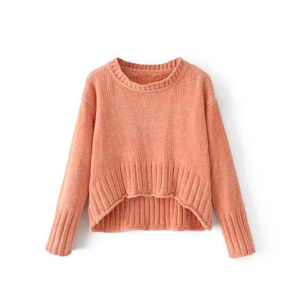 Women's Europe style Sweater lady Autumn Chenille velvet solid color sweater Female pullovers chic keep warm short Tops TB3883