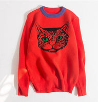 Autumn Winter High Quality Runway Designer Cat Print Knitted Sweaters Pullovers Women Long Sleeve Harajuku Sweet Jumpe Sweaters