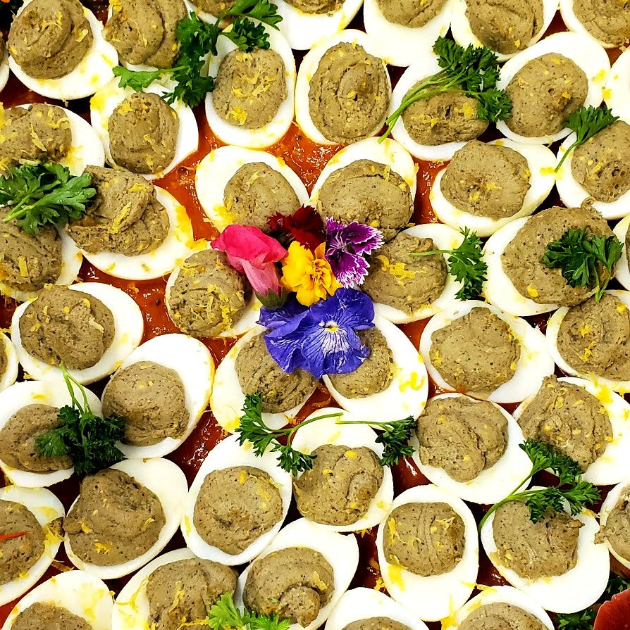 A Tray of 50 Pesto Deviled Eggs with a Tomato Balsamic Smear: Gluten, Dairy and Grain Free
