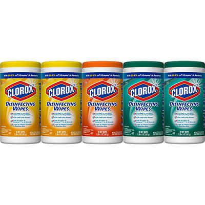 Clorox disinfectant crisp lemon scent 5 pack 390 wipes