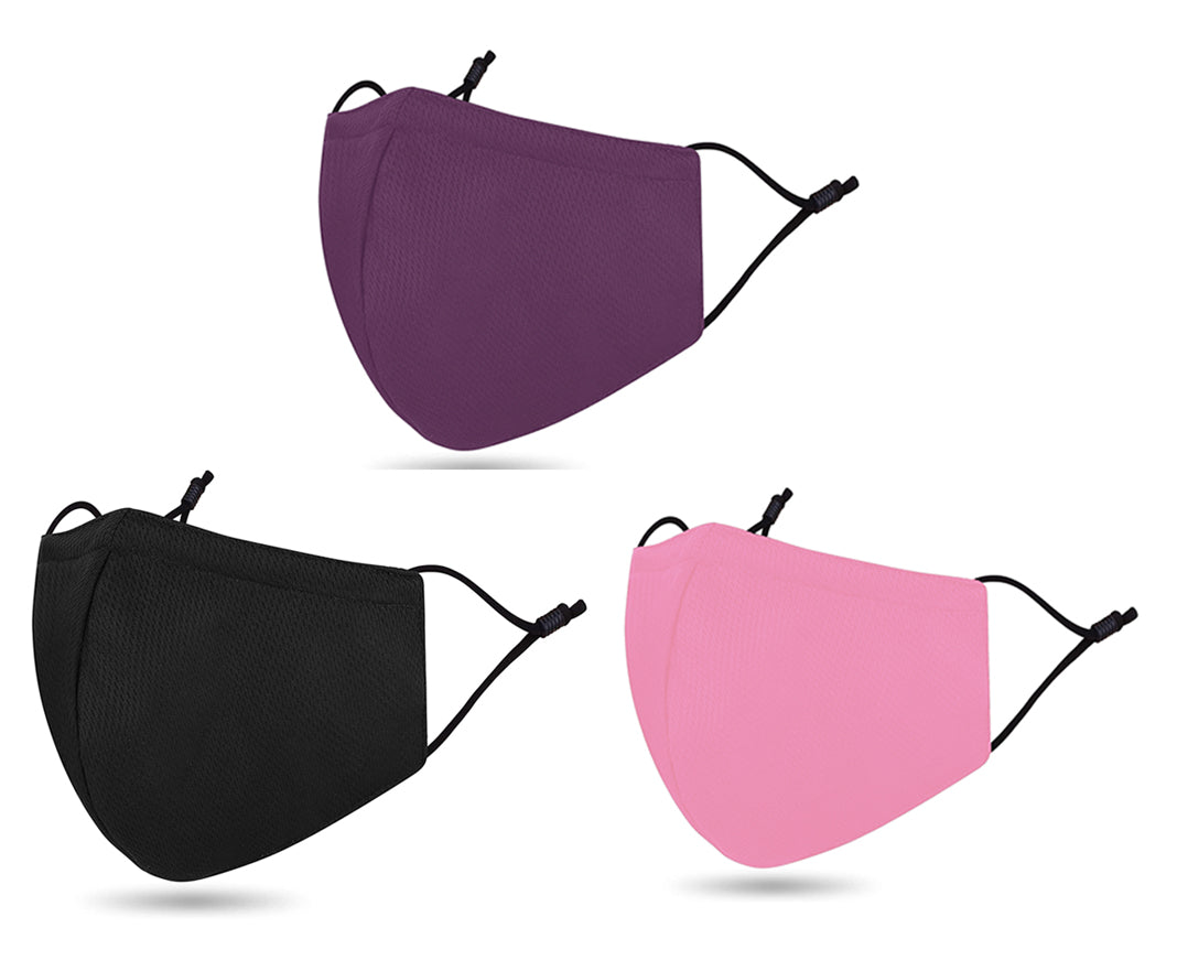 Adjustable Washable Masks in  Purple, Pink, Black