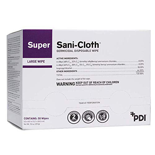 PDI Super Sani-Cloth Individual Packet Disinfectant Wipes,  50 Count