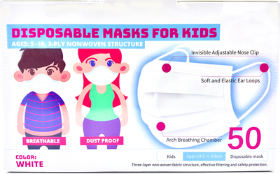 50 masks Children's Disposable 3-ply mask with Ear Loops