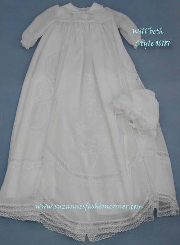 Will'Beth Girls Embroidered Christening Gown