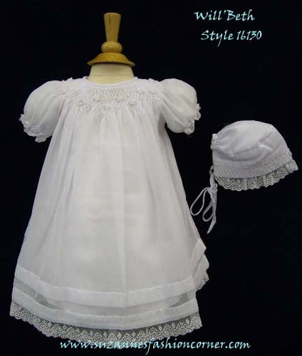 Will'Beth Elegant Smocked Girls Christening Dress - Style 16130