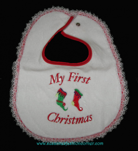 Girls First Christmas Bib