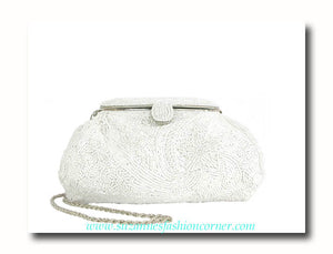 White Bugle Beaded Clutch Handbag