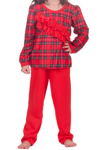 Girls Christmas Red Plaid PJ