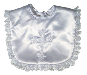 Girls White Satin Christening Bib