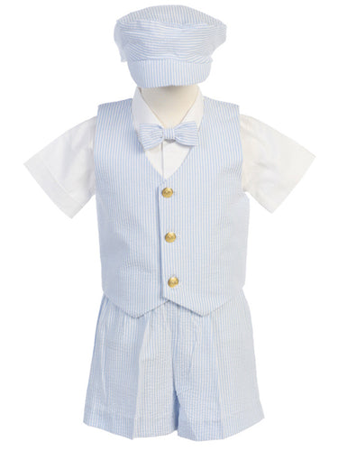 Boys Vested Pinstripe Suit Lito Style G820B