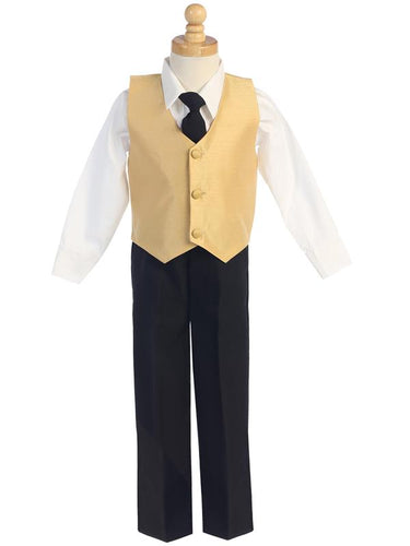 Lito Boys Gold Vest Shirt Tie Black Pants G823