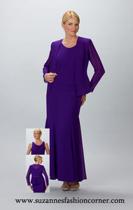 Ladies 2 pc Special Occasion Gown & Long Sleeve Jacket by Ursula