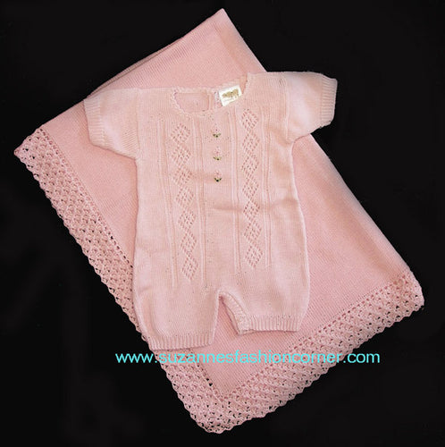 Antonella Kids Pink Cotton Outfit & Blanket