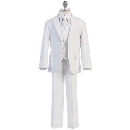 Boys 5pc White Slim Suit