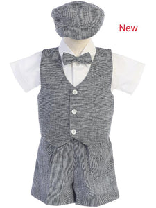 Boy's Navy Linen Vest Short Set style G834