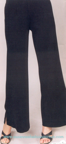 Black Side Slit Pull on Pants