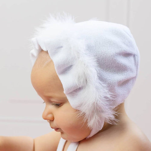White Fleece Baby Hat