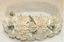 Load image into Gallery viewer, Baptism White Rose Flowers Headband