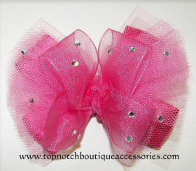 Glitzy Hot Pink Tutu Hair Bow